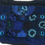 embroidered hobo bag blue detail