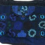 embroidered hobo bag blue detail