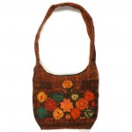 embroidered hobo bag brown-multi