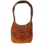 embroidered hobo bag brown-red