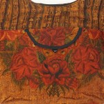 embroidered hobo bag brown-red detail