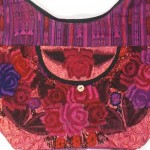embroidered hobo bag fuscia detail