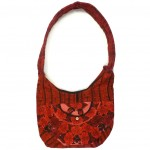 embroidered hobo bag red