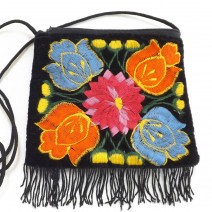 embroidered mini fringe purse