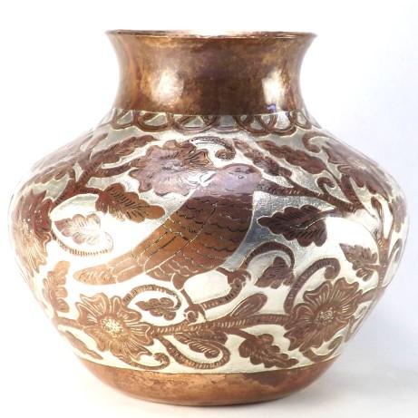 hammered copper pot birds