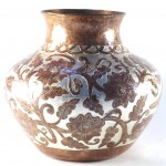 hammered copper pot flowers