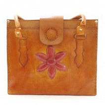 red flower leather tote